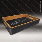 Embossed Etched Leather Serving Tray -Black/Silver Black Silver Leather Items
