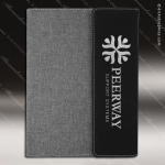 Embossed Etched Leather Portfolio - Black/Silver Black Silver Leather Items