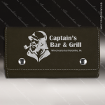Embossed Etched Leather Card and Dice Set - Black Silver Black Silver Leather Items