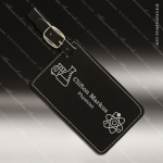 Embossed Etched Leather Luggage Tag Black Silver Gift Black Silver Leather Items