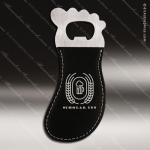 Embossed Etched Leather Magnetic Foot Shaped Bottle Opener Black Silver Etc Black Silver Leather Items