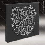 Embossed Etched Leather Wall Art Decor Or Signage Black Silver Gift Black Silver Leather Items