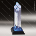 Acrylic Blue Accented Diamond Four Posts Trophy Award Blue Accented Acrylic Awards