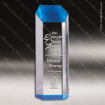 Acrylic Blue Accented Obelisk Tower Trophy Award Blue Accented Acrylic Awards