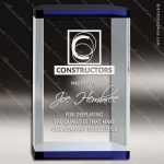 Acrylic Blue Accented Rectangle Banded Capri Trophy Award Blue Accented Acrylic Awards