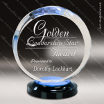 Acrylic Blue Accented Round Halo Award Blue Accented Acrylic Awards