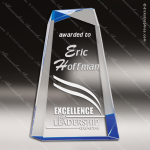 Acrylic Blue Accented Facet Wedge Award Blue Accented Acrylic Awards