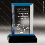 Acrylic Blue Accented Fusion Rectangle Impress Trophy Award Blue Accented Acrylic Awards