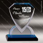 Acrylic Blue Accented Carved Diamond Shield Impress Trophy Award Blue Accented Acrylic Awards