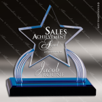 Acrylic Blue Accented Carved Star Impress Trophy Award Blue Accented Acrylic Awards