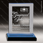 Acrylic Blue Accented Carved Rectangle Impress Trophy Award Blue Accented Acrylic Awards