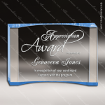 Acrylic Blue Accented Curve Wedge Crescent Trophy Award Blue Accented Acrylic Awards