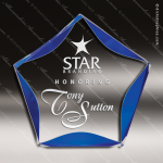 Acrylic Blue Accented Luminary Star Trophy Award Blue Accented Acrylic Awards