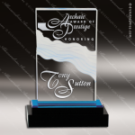 Acrylic Blue Accented Fusion Rectangle Wave Impress Trophy Award Blue Accented Acrylic Awards