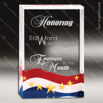 Acrylic Blue Accented Patriot Series Flag Design Rectangle Trophy Award Blue Accented Acrylic Awards