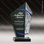 Acrylic Blue Accented Faceted Art Deco Peak Trophy Award Blue Accented Acrylic Awards