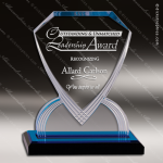Acrylic Blue Accented Diamond Shield Impress Reflection Trophy Award Blue Accented Acrylic Awards