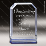 Acrylic Blue Accented Cornerstone Wedge Trophy Award Blue Accented Acrylic Awards
