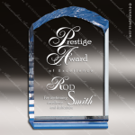 Acrylic Blue Accented Chisel Wedge Trophy Award Blue Accented Acrylic Awards