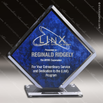 Acrylic Blue Accented Square Diamond Trophy Award Blue Accented Acrylic Awards