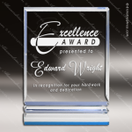 Acrylic Blue Accented Rectangle with Ribs Blue Accented Acrylic Awards