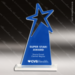 Acrylic Blue Accented Shooting Rising Star Trophy Award Blue Accented Acrylic Awards