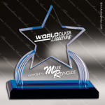 Acrylic Blue Accented Star Impress Reflection Trophy Award Blue Accented Acrylic Awards