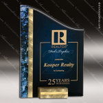 Acrylic Blue Accented Textured SunRay Trophy Award Blue Accented Acrylic Awards