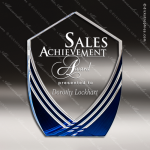 Acrylic Blue Accented Shield Series Peak Trophy Award Blue Accented Acrylic Awards