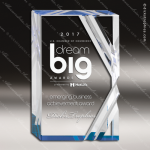Acrylic Blue Accented V Series Rectangle Trophy Award Blue Accented Acrylic Awards