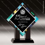Acrylic Blue Multicolored Accented Diamond Square Trophy Award Blue Accented Acrylic Awards