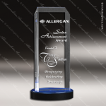 Acrylic Blue Accented Rectangle Spectra Tower Trophy Award Blue Accented Acrylic Awards