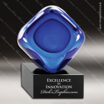 Artistic Blue Accented Glass Cube Natural Black Base Trophy Award Blue Accented Artisitc Awards