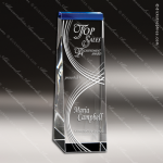 Crystal Blue Accented Voyager Rectangle Wedge Trophy Award Blue Accented Crystal Awards