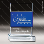Crystal Blue Accented Sapphire Accent Rectangle Strip Trophy Award Blue Accented Crystal Awards