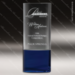Crystal Blue Accented Strata Rectangle Trophy Award Blue Accented Crystal Awards