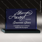Crystal Blue Accented Le Bleu Rectangle Trophy Award Blue Accented Crystal Awards