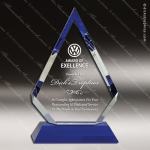 Crystal Blue Accented Diamond Trophy Award Blue Accented Crystal Awards