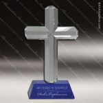 Crystal Blue Accented Cross Trophy Award Blue Accented Crystal Awards