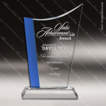 Crystal Blue Accented Wave Trophy Award Blue Accented Crystal Awards