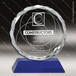 Crystal Blue  Accented Circle Diamond Edged Trophy Award Blue Accented Crystal Awards