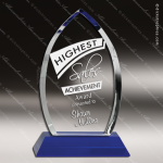 Crystal Blue  Accented Cascade Trophy Award Blue Accented Crystal Awards