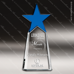 Crystal Blue Accented Star Pillar Tower Trophy Award Blue Accented Crystal Awards