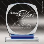 Crystal Blue Accented Circle Scalloped Aurora Trophy Award Blue Accented Crystal Awards