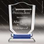 Crystal Blue Accented Fan Sail Shield Trophy Award Blue Accented Crystal Awards