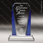 Crystal Blue Accented Diamond Stripe Trophy Award Blue Accented Crystal Awards