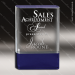 Crystal Blue Accented Rectangle Granda Trophy Award Blue Accented Crystal Awards