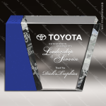 Crystal Blue Accented Corporate Eclipse Trophy Award Blue Accented Crystal Awards