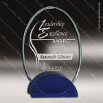 Crystal Blue Accented Oval Concord Trophy Award Blue Accented Crystal Awards