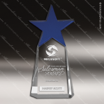 Crystal Blue Accented Star Orion Tower Trophy Award Blue Accented Crystal Awards